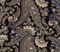 Cowboy Images Black Tan Paisley Silk Scarf