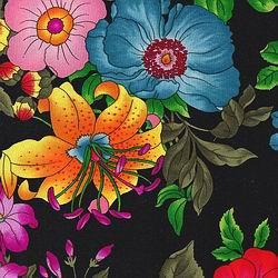 Cowboy Images Garden Flower Black Silk Scarf