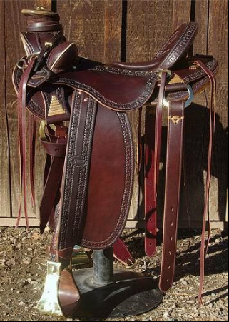Dark brown extra wide western saddles