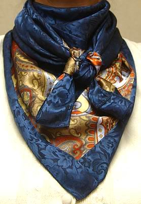 Cowboy Images Combo Gold & Rust Paisley w/Denim Jacquard Silk Scarf