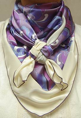 Cowboy Images Combo Purple Deco w/Ivory Silk Scarf