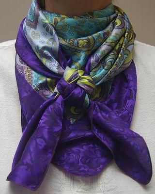Turquoise & Violet Paisley w/Purple Jacquard Comb Scarf #11