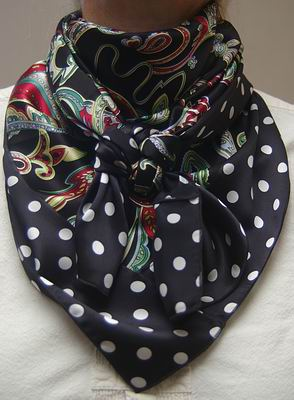 Fiesta w/White Dot on Black Combo Scarf #15