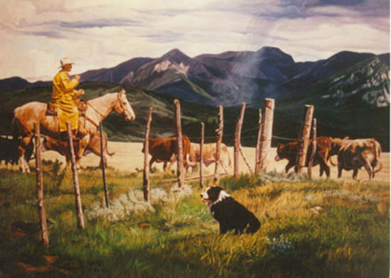 Western Art Countin the Strays by Wayne Justus