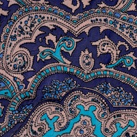 Wyoming Trader Blue Gold Paisley Silk Scarf