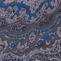 Wyoming Trader Blue Silver Paisley Silk Scarf