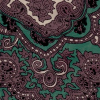 Wyoming Traders Chocolate Forest Green Paisley Silk Scarf