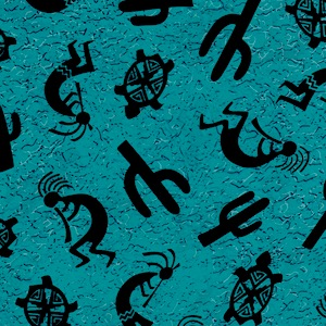 Austin Accents Southwest Turquoise and Black 100% Silk Scarf