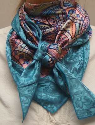 Cowboy Images Combo Scarf 13 Rio with Teal Jacquard Silk Scarf