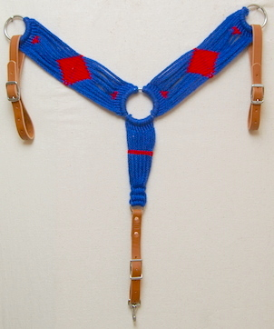 Royal Blue & Red Mohair Breast Collar