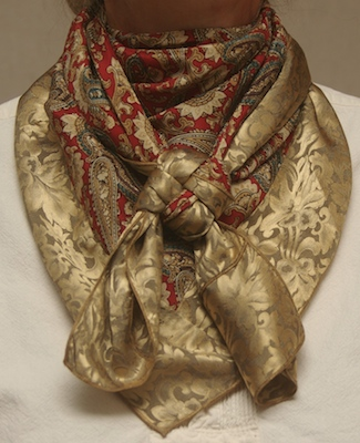 Red Paisley w/Gold Jacquard Combo Scarf #28