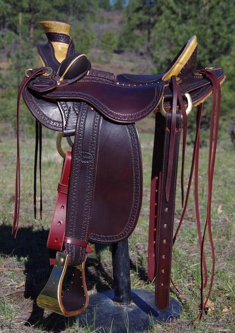 "Stock Saddle Dark Oiled Antiqued 15"""