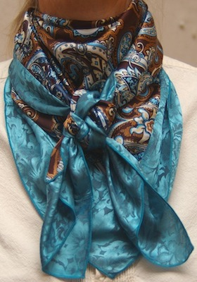 Cowboy Images Combo Arbuckle with Teal Jacquard Silk Scarf