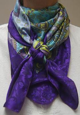 Turquoise & Violet Paisley w/Purple Jacquard Comb Scarf #11